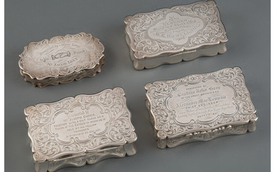 Four British Silver Presentation Boxes (mid-19th century)