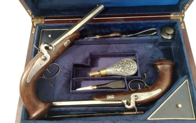 France - Unknown - DUELING OR TARGETING - CASED WEAPONS - Percussion - PAIR OF PISTOLS - 12 Bore