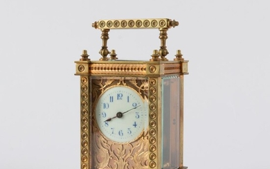 French Gilt Brass Carriage Clock, 19th c.