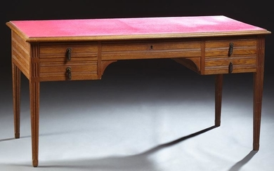 French Louis XVI Style Carved Oak Desk, late 19th c.