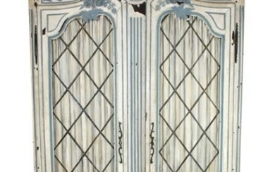 French Provincial painted 2 door armoire