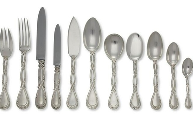 French Silver Flatware service for 12 Puiforcat Royal