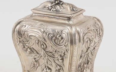 """GEORGE III ROCOCO STERLING SILVER TEA CADDY Maker's mark cursive """"R·C"""", possibly for Robert Albin Cox. With lift-off cover and bombé.."""