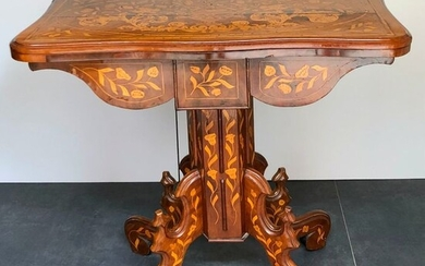 Games table - Mahogany, Fruitwood Marquetry - 19th century