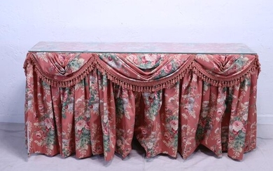 Glass Top Console Table with Floral Upholstery