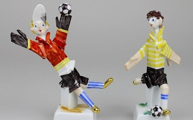 Goalkeeper and striker, two porcelain figures, Meissen c. 2006, designed by Peter Strang, limited edition, numbered 29 of 250, on square base, inscribed Berlin 2006, Master Card and numbered, on base blue sword mark and embossed numbers 203 and 205 AK...