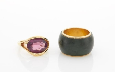 Gold and Amethyst Ring and Jade Band Ring