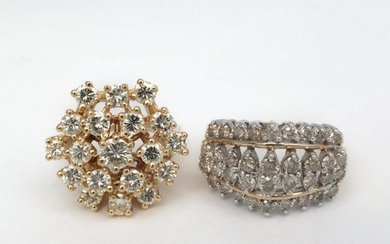Gold and Diamond Cluster Ring and Low Karat Gold and Diamond Ring