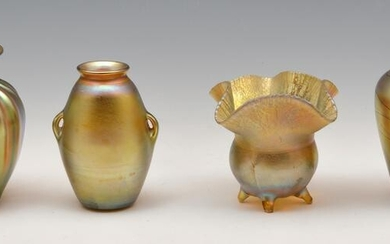 Grouping of 4 Tiffany Favrile Vases