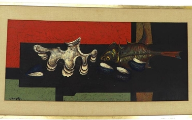 """Gustave CAMUS (Belgian School 1914-1984) """"Shells and fish"""", oil on canvas, signed lower left, titled on the back and dated """"1966"""", 39 x 88 cm"""