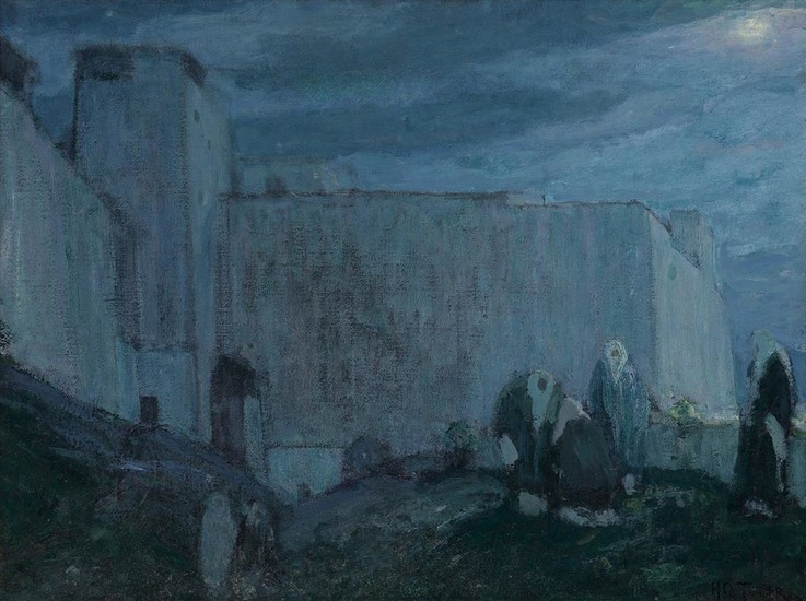 HENRY OSSAWA TANNER (1859 1937) Moonrise by Kasbah (Morocco).