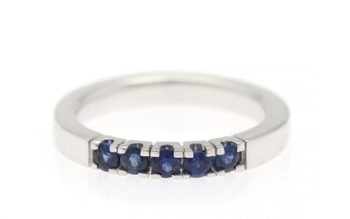 Hartmann's: A sapphire ring set with numerous circular-cut sapphires weighing a total of app. 0.48 ct., mounted in 14k white gold. Size app. 56.