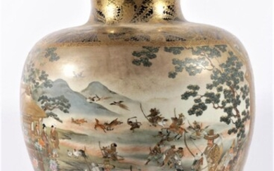 Impressive Satsuma Vase Decorated Beautifully With Warriors And a River Scene, Marked to Base, Unzan (H46.5cm)