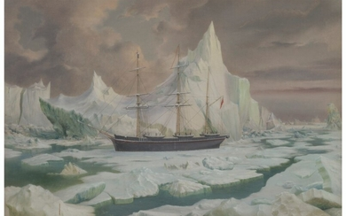 "J. Hamer (19th Century), The ""Resolute"" abandoned and drifting out ('H.M.S. ""Resolute"" one of the five vessels in search of Sir J. Franklin, abandoned in 1854')"