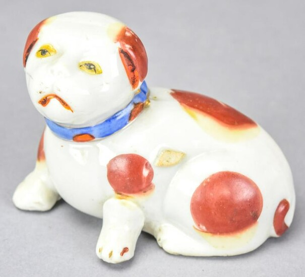 Japanese Hand Painted Porcelain Dog Statue