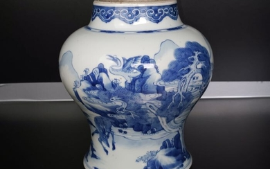 Jar (1) - Blue and white - Porcelain - Deer faucet - Kangxi-dynastie - China - 18th century