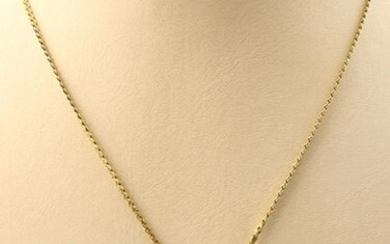 Jewellery gold - 14k yellow gold S-link necklace, the center with an organic-shaped decoration, set with four cultured pearls - 43 cm