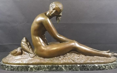 """Joseph-Emmanuel CORMIER (1869-1950) known as Joe DESCOMPS Bronze in brown patina depicting a naked young woman sitting holding a stick and two pigeons at her side, signed """"J.CORMIER"""" and annotated Cire perdue and stamped by the Swiss foundryman Frères..."""