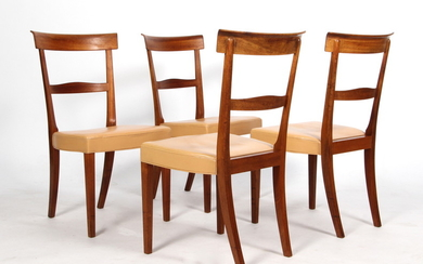 Kaare Klint. A set of four dining chairs in Cuba mahogany and leather, 'Ravenna'(4)