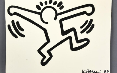 Keith Haring Marker Signed Ink Drawing on Paper 89