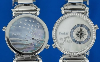 Korloff - 108 Diamonds for 1,26 Carat Reversible 2 time Zones Mother of Pearl Dial Verso Waves Swiss Made- LM1D/2BR - Women - BRAND NEW