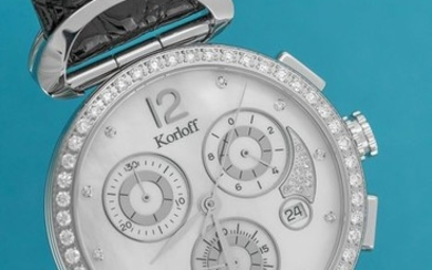 Korloff - Diamonds for 1,33 Carat Chronograph White Mother of Pearl Crocodile Strap Swiss Made - VCLAWD - Women - Brand New