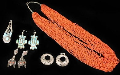 LOT OF 5 VINTAGE TURQUOISE, CORAL SILVER JEWELRY