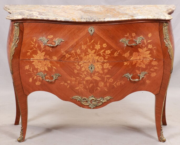 """LOUIS XVI STYLE MARBLE TOP COMMODE, H 31"""", W 40"""", D 17"""""""