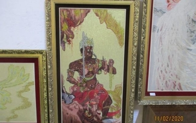 Large Chinese Embroidery of Chinese God in a Gilt Frame (62c...