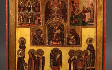 Large Russian multi-field icon, 19th century (2)
