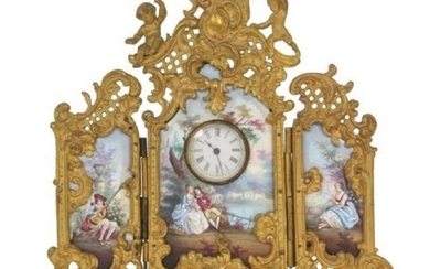 Large Viennese Enamel Ormolu Gilt Bronze 3 Panel Clock