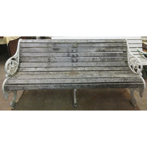 Late 19th/Early 20th century painted wrought iron garden ben...