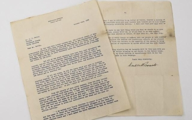 Letter Signed by Franklin D. Roosevelt
