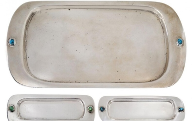 Liberty & Co, a silver tray and two pin trays...