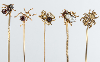 (Lot of 5) garnet, cultured pearl, diamond, yellow gold insect stickpins