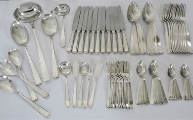 M100 Solingen - silver plated Art Deco cutlery 12-person + serving cutlery, 83 pieces