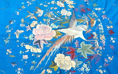 Magnificent antique Chinese blue silk quilt with embroideredbirds and flowers - Silk - China - 19th century