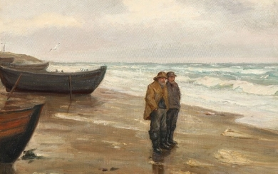 Michael Ancher: A couple of fishermen on the beach. Signed M. A. Oil on canvas. 46×63.5 cm.