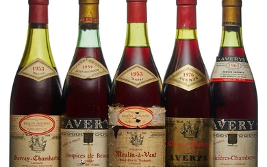 Mixed Avery, Avery, Moulin a Vent, Grand Clos de Rochegres 1953 French bottled, Avery label, worn capsule, bin-soiled, damaged, and pen-marked label Level 3.5cm (1) Avery, Gevrey Chambertin, Lavaux 1953 French bottled, Avery label, damaged capsule...