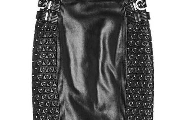 New VERSACE Studded Black Leather Moto Pencil Skirt