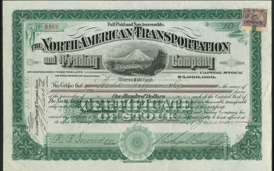 North American Transportation and Trading Company, $100 Shares, Chicago 19[00], #B463, signed b...