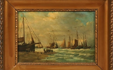 OIL ON CANVAS, C. 1900, DUTCH PORT SCENE