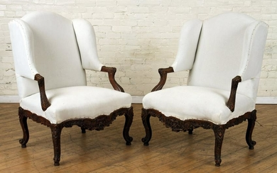 PAIR FRENCH CARVED WALNUT OPEN ARM CHAIRS C.1910