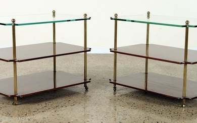 PAIR MAHOGANY 3-TIER END TABLES GLASS TOP C.1960
