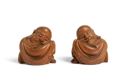 PAIR OF CARVED BOXWOOD FIGURES OF BUDAI REPUBLIC PERIOD