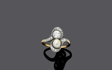 PEARL AND DIAMOND RING, ca. 1910.