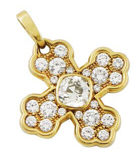 PENDENT, MARINA B cruciform in yellow gold and...