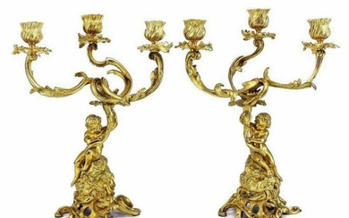 Pair French Gilt Bronze Angels or Putti Candelabras