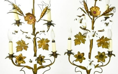 Pair Hollywood Regency Style Gilt Floral Lamps