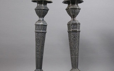 Pair Ornate Silver Plate Candlesticks Derby S P Company